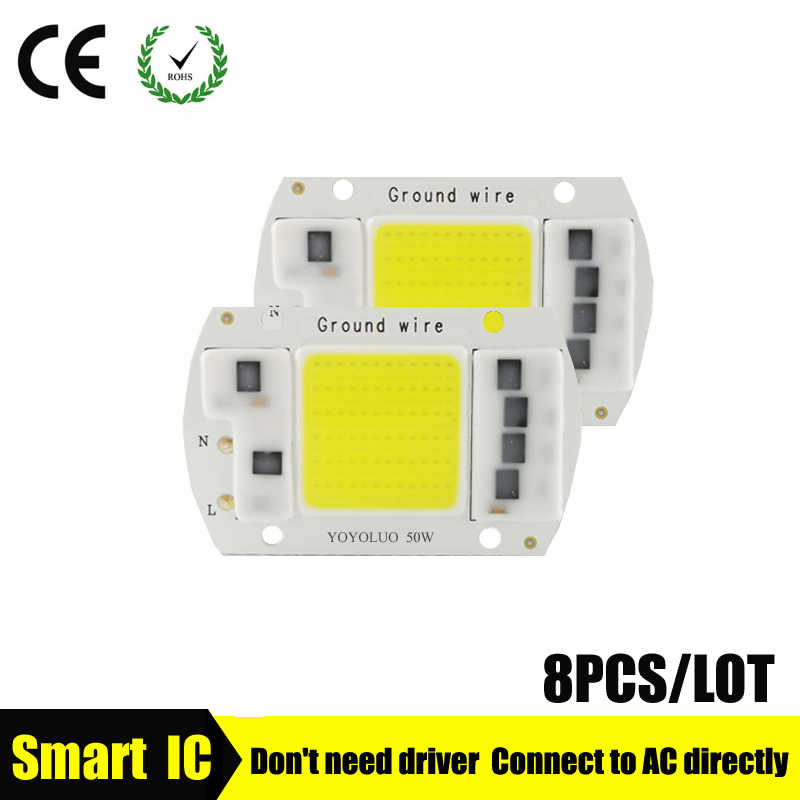 8PCS/LOT LED COB Lamp Chip 5W 20W 30W 50W 220V 230V  Input Smart IC Driver Fit For DIY LED Floodlight Spotlight Cold/Warm White
