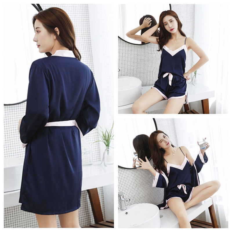Image 3 - JULY'S SONG 2 Piece Sexy Lace Robe & Gown Set Women Silk Pajamas Set Sleep Dress Bathrobe Red Brides Wedding Sleepwear With Belt-in Robe & Gown Sets from Underwear & Sleepwears