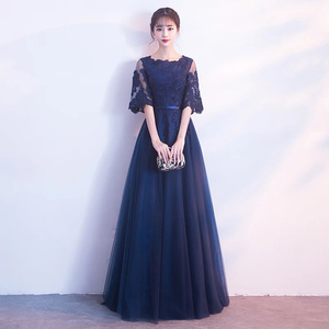 Image 5 - DongCMY New Arrival Evening Dress Bandage Lace Embroidery Luxury Satin Short Sleeved Long Elegant Robe De Soiree Gown