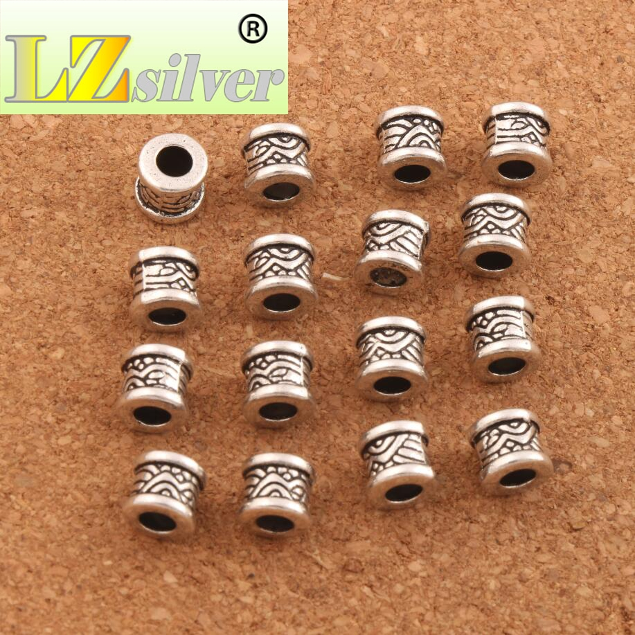 Waves Curved Tube Beads Metal Spacers 4 8x7 6mm 45PCS Antique Silver Jewelry Findings L713 in Beads from Jewelry Accessories