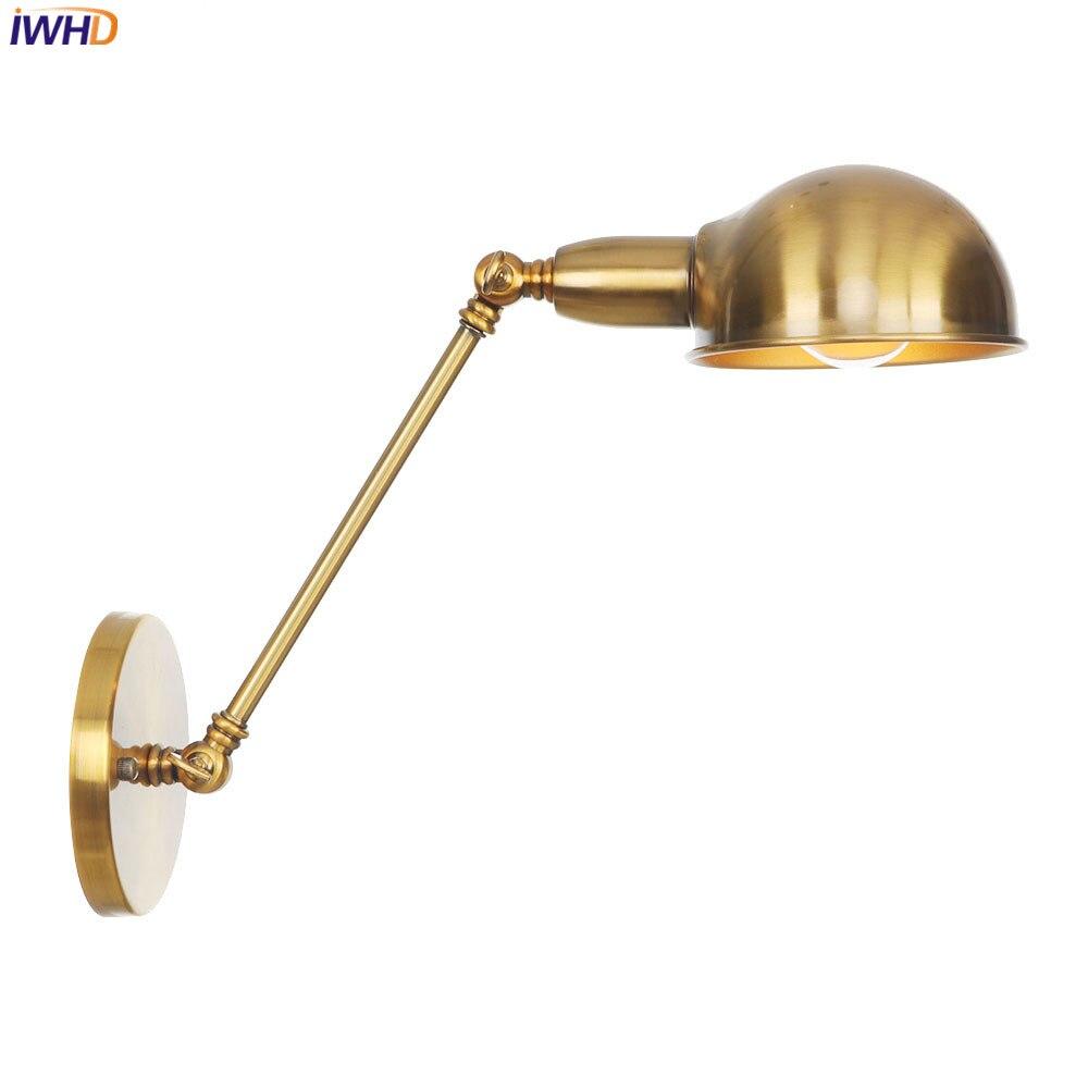 Iwhd nórdico do vintage conduziu a lâmpada de parede ferro rh wandlamp retro luzes de parede para casa luminárias escadas led luz aplique pared