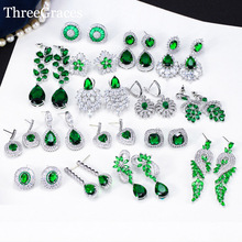 ThreeGraces Vintage Big Water Drop Green Crystal Stone Long Earrings Flower Cubic Zirconia Women Wedding Hanging Earring ER047