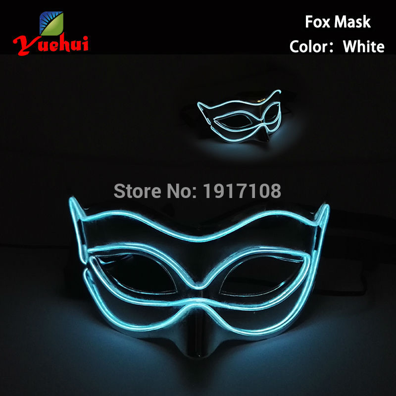 10 COLOR Choice Glowing Sound activated Halloween New Fox Mask EL wire Masks LED Glowing Party DJ dance Carnival Masks Supplies