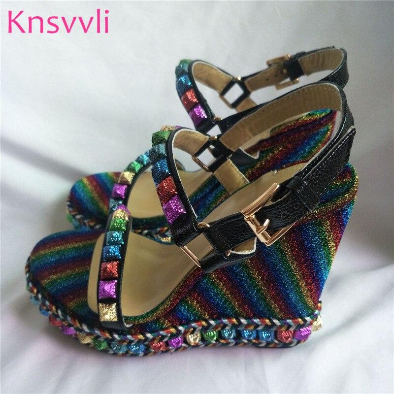 Knsvvli date noir en cuir plate forme sandale chaussures d'été femmes T sangle fond épais talons hauts compensés chaussures Sandalias Mujer-in Sandales femme from Chaussures    1