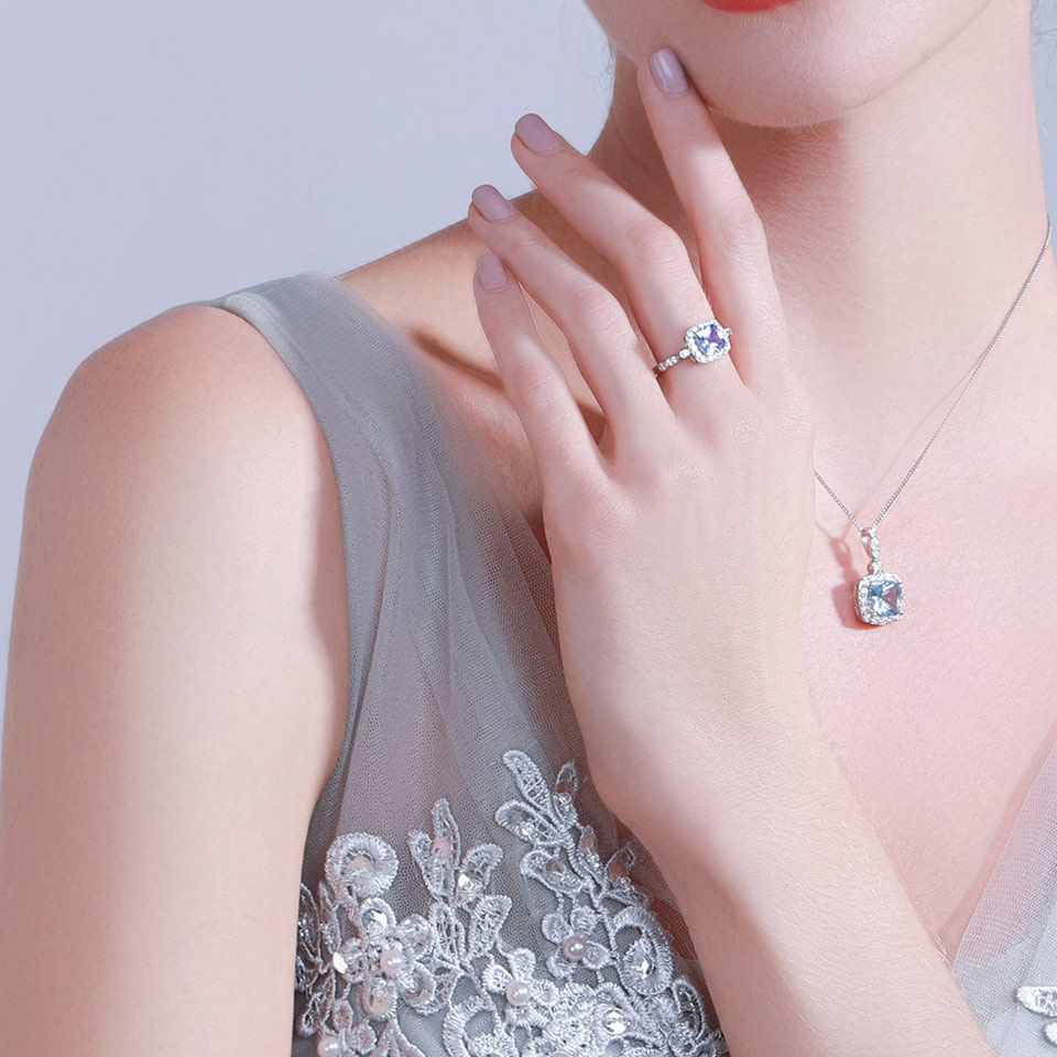 UMCHO 925 Sterling Silver Halsband Hängen Himmel Blå Topaz Halsband - Fina smycken - Foto 5