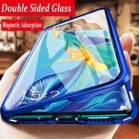 360 caixa magnética completa do telefone para huawei p30 nova 5 pro companheiro 20x p20 dupla face de vidro capa metal amortecedor honra 9x20 10 8x caso