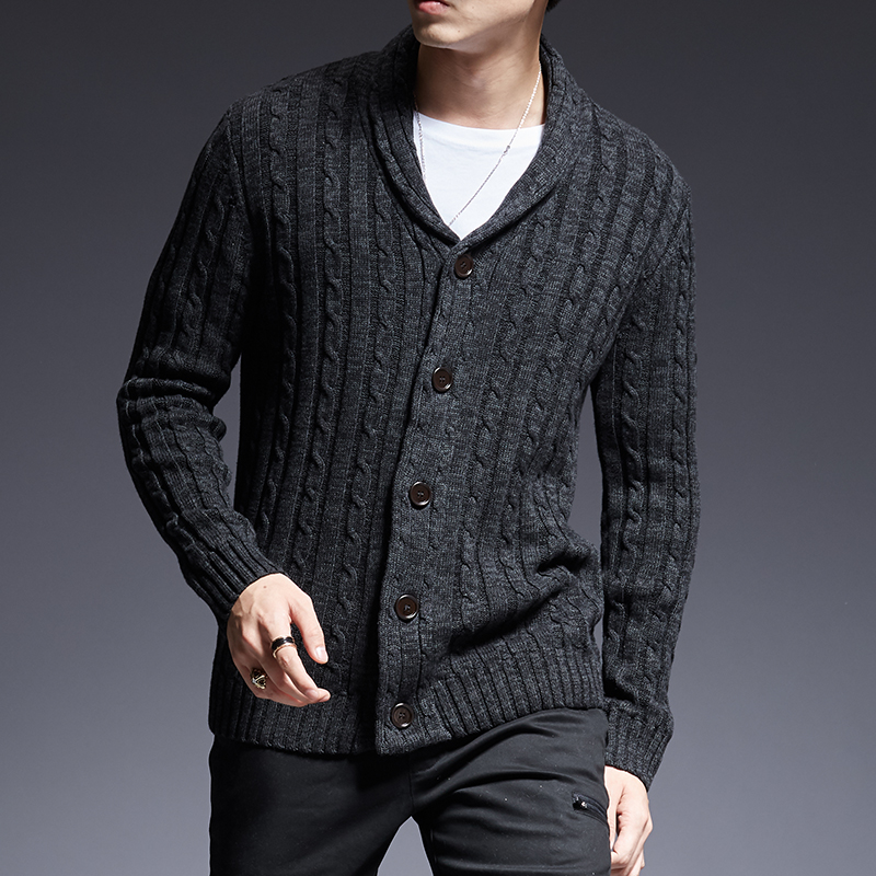 2019 New Fashion Brand Sweater Man Cardigan Thick Slim Fit Jumpers Knitwear High Quality Autumn Korean Style Casual Mens Clothes
