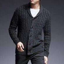 2019 nueva marca de moda suéter de hombre Chaqueta de punto grueso Slim  sudaderas Otoño de a8d52f873d14