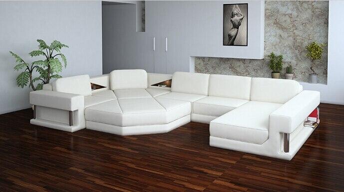 US $1298.0 |Modern Leather corner sofas sectional sofa for living room sofa  U shaped sofa furniture-in Living Room Sofas from Furniture on AliExpress