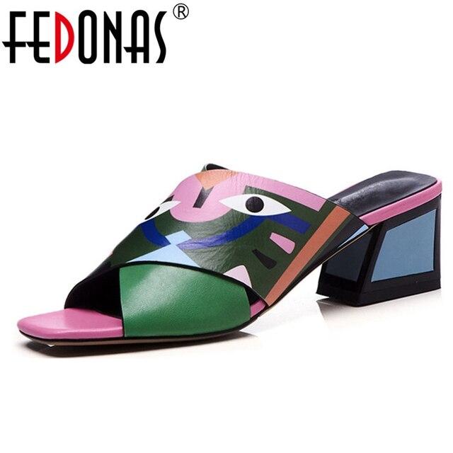 FEDONAS Sexy Phụ Nữ Cao Gót Bơm Thời Trang In Bên Giày Cưới Người Phụ Nữ Thoải Mái Chất Lượng PU Da Mùa Hè Dép Bơm