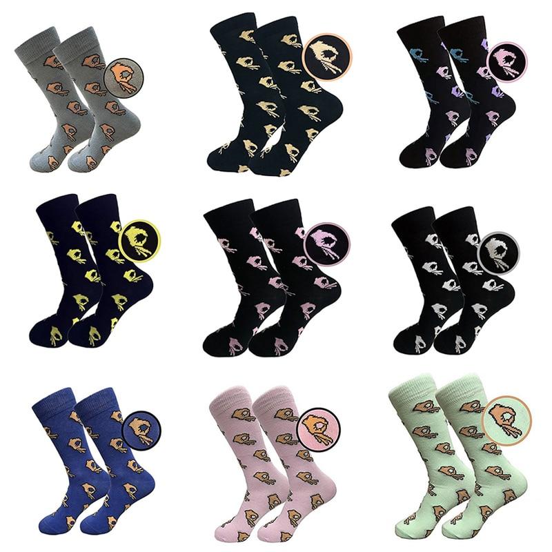 Men Women Funny Finger OK Gesture Print Crew Cotton Socks Popular Soft Hip Hop Street Socks Drop Ship