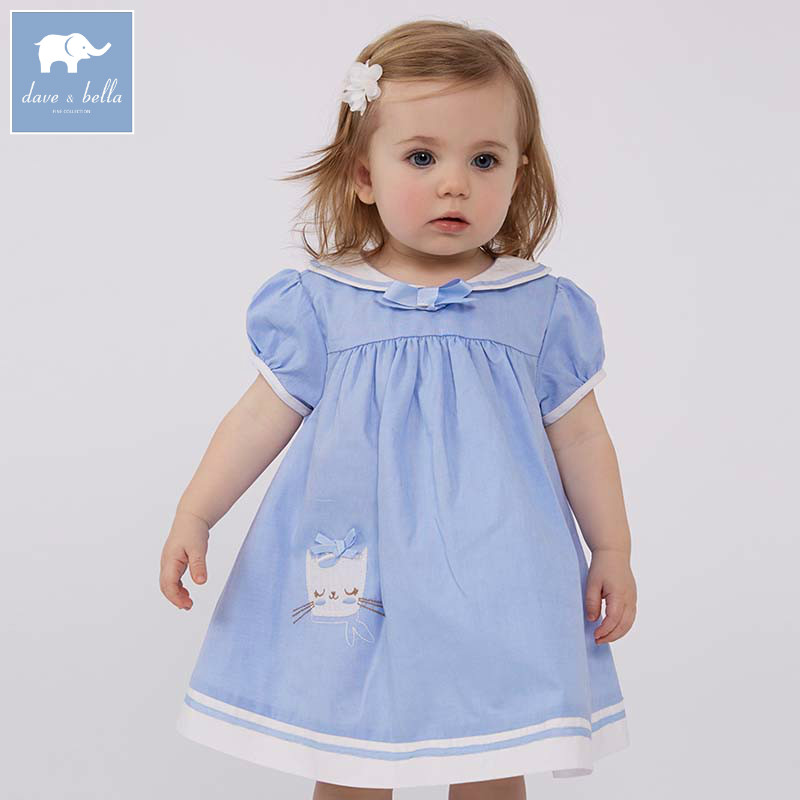 DBM7342 dave bella summer baby Lolita high quality clothes infant toddler lovely costumes children short sleeve girls dress db7191 dave bella summer baby girls newborn infant toddler jumpsuits children short sleeve printing clothing baby romper