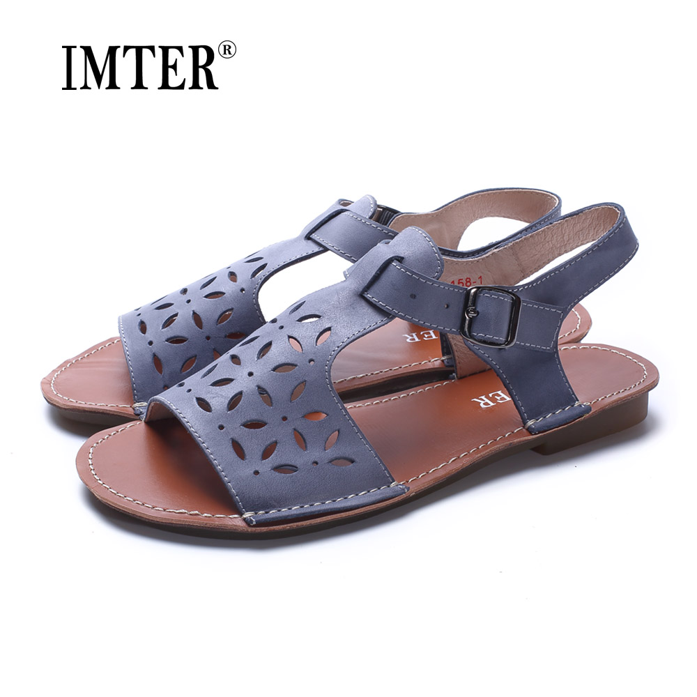 Woman Shoes Gladiator Women Sandals  Genuine Leather Ladies Flat Sandals Summer Shoes Female Footwear (1021-3) women sandals 2017 summer shoes woman wedges fashion gladiator platform female slides ladies casual shoes flat comfortable