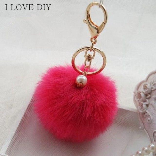 New Pendant Handbag Charm Key Ring Rabbit Fur Ball PomPom For Phone Car Bag Keychain