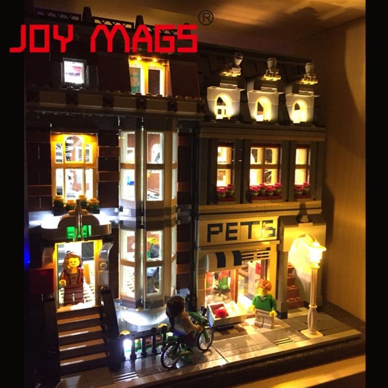 JOY MAGS Light Up Kit Led Building Blocks Kit For Creator Pet Shop Compatible With Lego 10218 15009 Excluding Model stadtstrabe creator pet shop supermarkt modell lepin 15009 2082 stucke baustein kinder spielzeug kompatibel 10218 ziegel