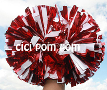 2 pom pom cheerleader pom pom metallic red and metallic white 1,000*3/4″ wide streamers 6″ sizes