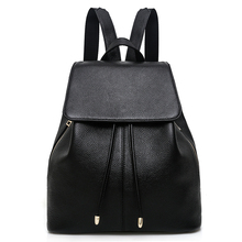 купить Fashion Designer Cow Genuine Leather Women Backpacks Drawstring School Bags or Teenagers Girls Female Travel Backpack Rucksack дешево