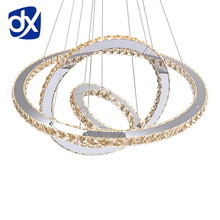 LED Crystal Ring Pendant Light Ring Crystal Light Fixture Suspension Lumiere LED Living Room Circles Lamp Lustre chandeiler(China)