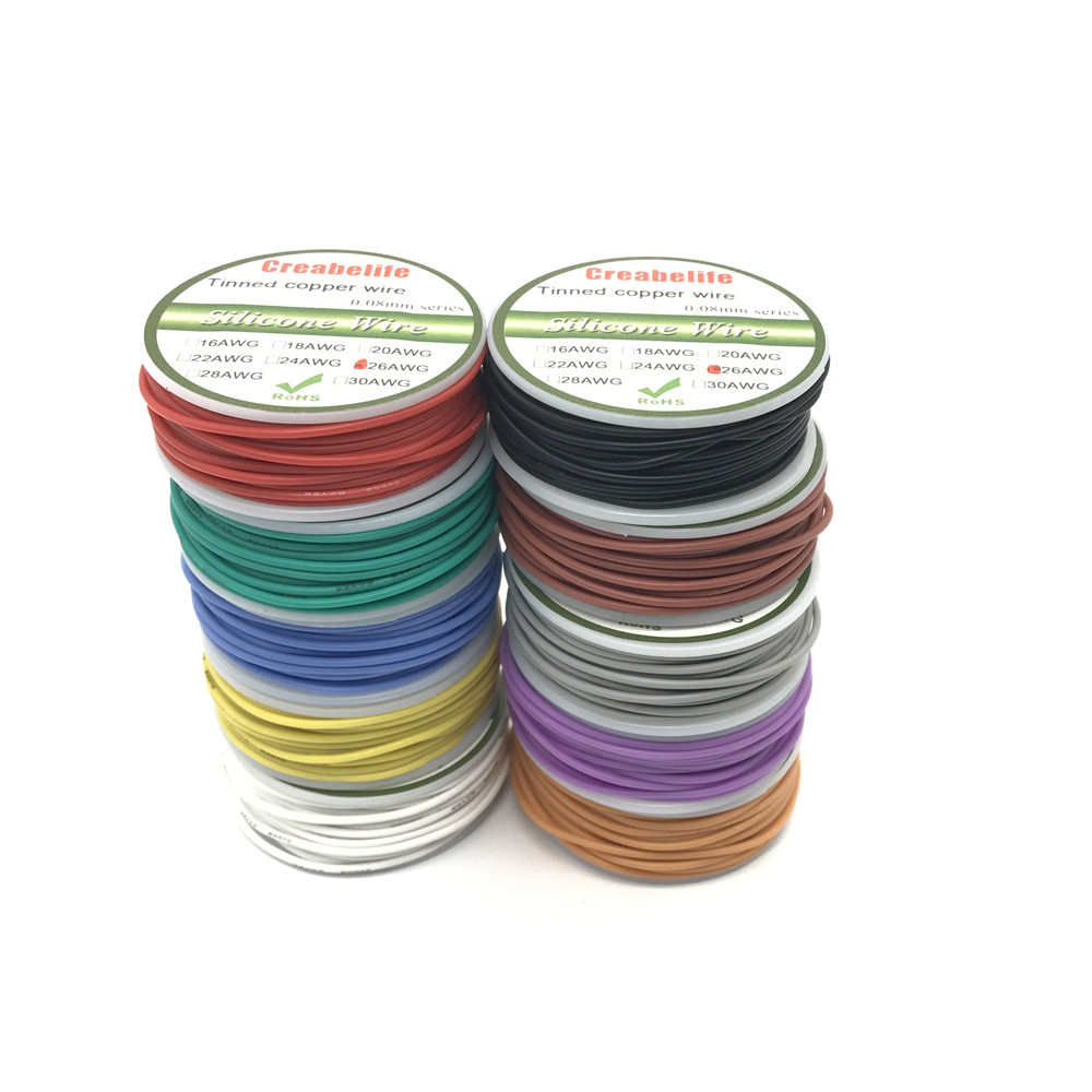 10m 26 AWG Flexible Silicone Wire RC Cable 28AWG Outer Diameter 1.5mm Line With 10 Colors to Select With Spool 1meter red 1meter black color silicon wire 10awg 12awg 14awg 16 awg flexible silicone wire for rc lipo battery connect cable