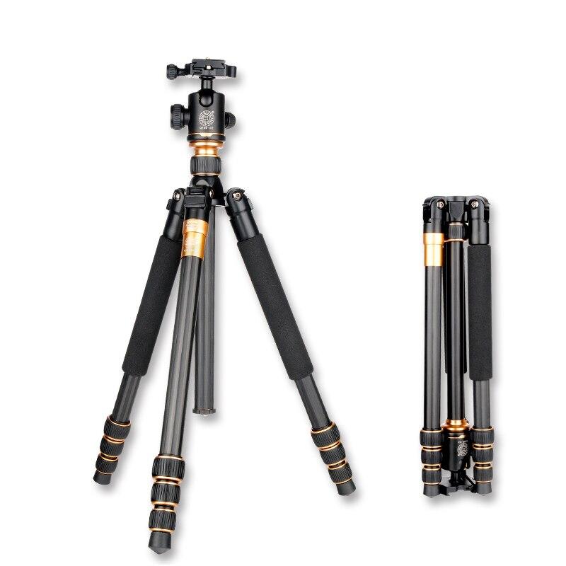 Original QZSD Q999C professionnel en Fiber de carbone DSLR caméra trépied monopode + rotule/Portable Photo caméra Stand/mieux que Q999