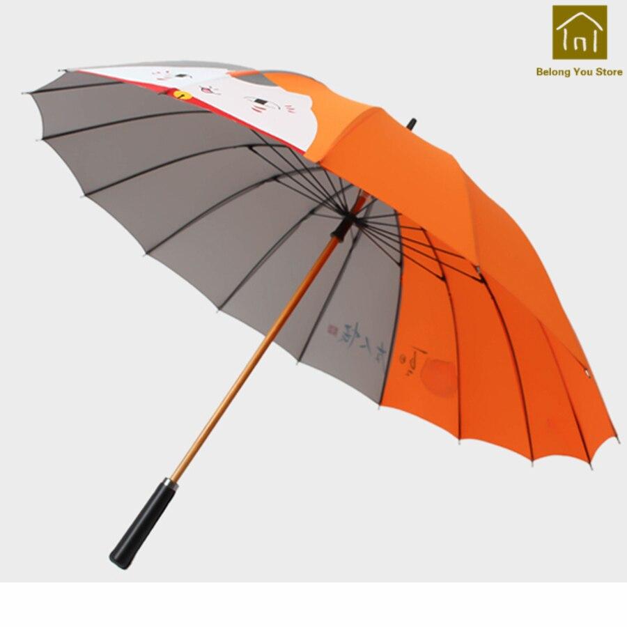 Creative poignée droite Art parapluie femme ombre de soleil parapluie poche Parasol Jardin à la main Parasol pluie parapluies BKV052