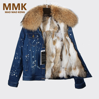 2018 Parka Winter Women Denim Jacket Real Large Raccoon Fur Collar With Rabbit Fur Lining Outwear Removable Brand Style