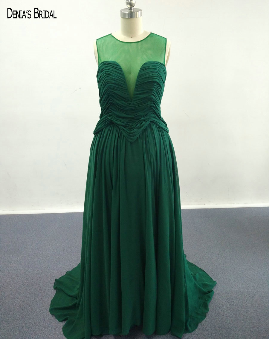 2017 A-Line Green Chiffon Evening Dresses with Jewel Pleats Neckline Floor Length Sweep Train Party Prom Gowns