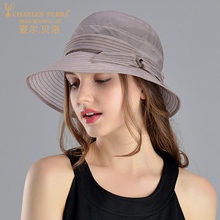 Charles Perra Sun Hats Female Summer New Foldable Women Sunscreen Natural Silk Hat Fashion Elegant Beach Lady Bucket Caps 9245
