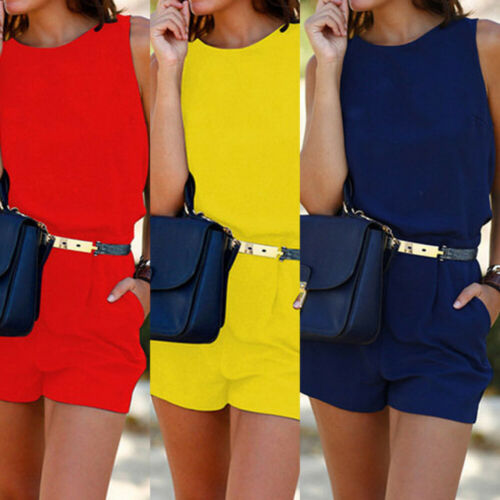Womens Lady Summer Casual Sleeveless Jumpsuit Backless Tops Romper Playsuit Shorts Trousers With Waist Belt