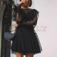 Cuerly sexy party club black mesh lace dress women dot ruffled two pieces set 2019 female vestidos L5