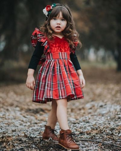 PUDCOCO Formal-Dress Christmas XMAS Plaids Party-Pageant Toddler Baby-Girls Kids Sleeveless