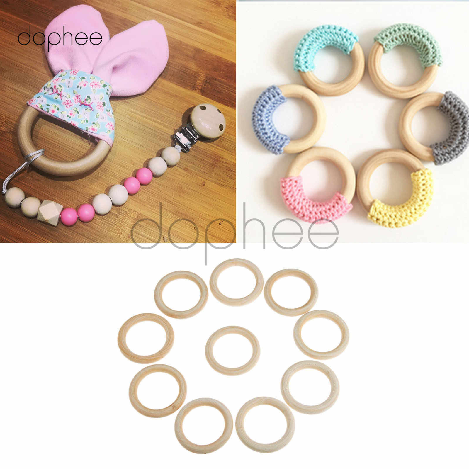 dophee 10pcs 70mm Natural Wooden Rings Unfinished Baby Teething Ring Pendant Pacifier Holders For DIY Babies Teething Toys
