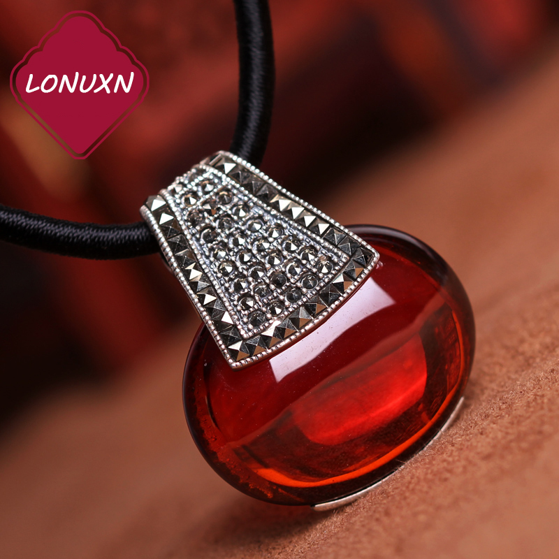 925 Sterling silver red garnet Retro Pendant red Natural Semi-precious stones necklace Women jewelry girlfriend birthday gift 2017 new s925 silver coins necklace natural semi precious stones lapis lazuli retro ethnic style tassel pendant women jewelry