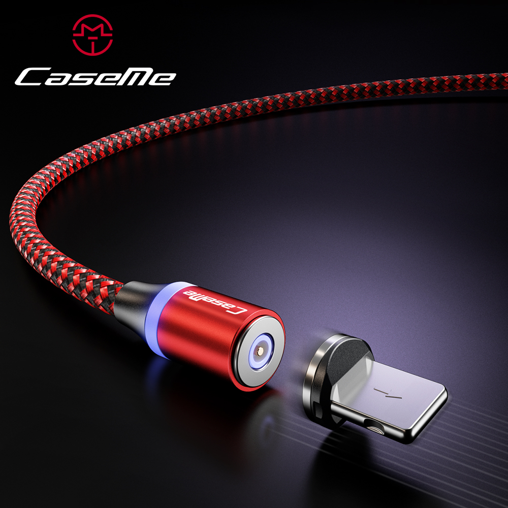 CaseMe LED Magnetic Adsorption <font><b>Cable</b></font> For Type C <font><b>Cable</b></font> Micro USB Fast Charging <font><b>3</b></font> <font><b>in</b></font> <font><b>1</b></font> Nylon Wire Detachable Magnetic Phone <font><b>Cable</b></font> image