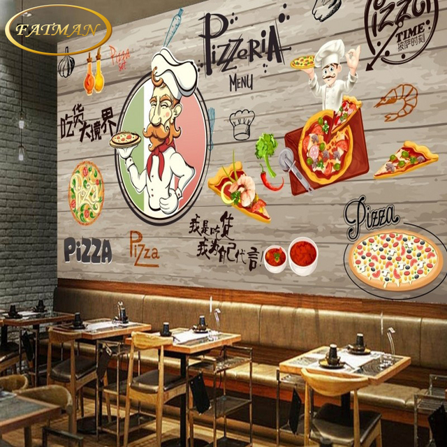 Custom 3D photo wallpaper Hand painted pizza backdrop ...