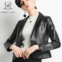 Осень зима овчины Натуральная кожа куртка женщин черный отложной воротник одной кнопки женские мотоциклетные натуральная кожаная куртка s