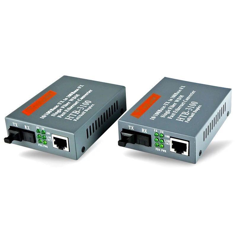 1 pairHtb-3100ab Optical Fiber Media Converter Fiber Transceiver Single Fiber Converter 25km SC 10/100M Singlemode Single Fiber