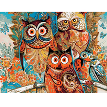 Chambotrade Frameless Abstract Animals Owl DIY Picture By Number Linen Canvas Painting Wall Art Acrylic Paint Home Decor Artwork