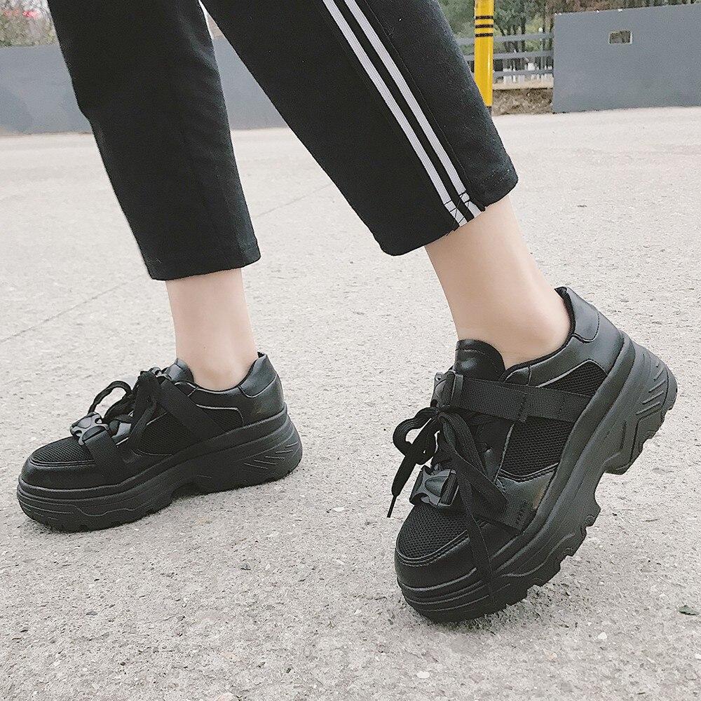 Planos De La blanco Muqgew Cómodos Las Zapatos Estilo Mujeres Negro Plataforma Casuales Negro Deportes Universidad Uxq71E