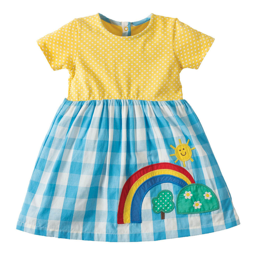 VIDMID girls short sleeve dresses girls cotton clothes summer floral dresses kids casual appliques striped dresses clothing W01 4