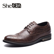 New Design Luxury Italian Men Brogue Dress Shoes Formal Business Oxfords Shoes for Men British Brand Men Leather Flats Dropship(China)