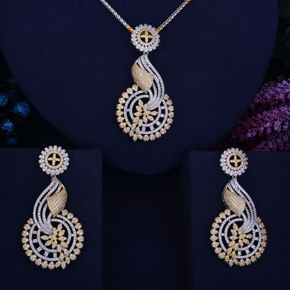 GODKI 68mm Hollow Flower Leaf Luxury 2 Tone Women Wedding Naija Bridal Cubic Zirconia Necklace Earring Dubai Dress Jewelry Set