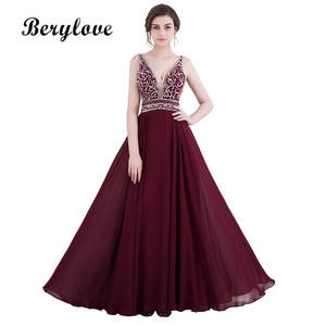 421d91edd72 BeryLove Sexy Burgundy Prom Dresses 2018 Long Backless Deep V Neck Evening  Gowns Beaded Prom Dresses Cheap Formal Evening Dress