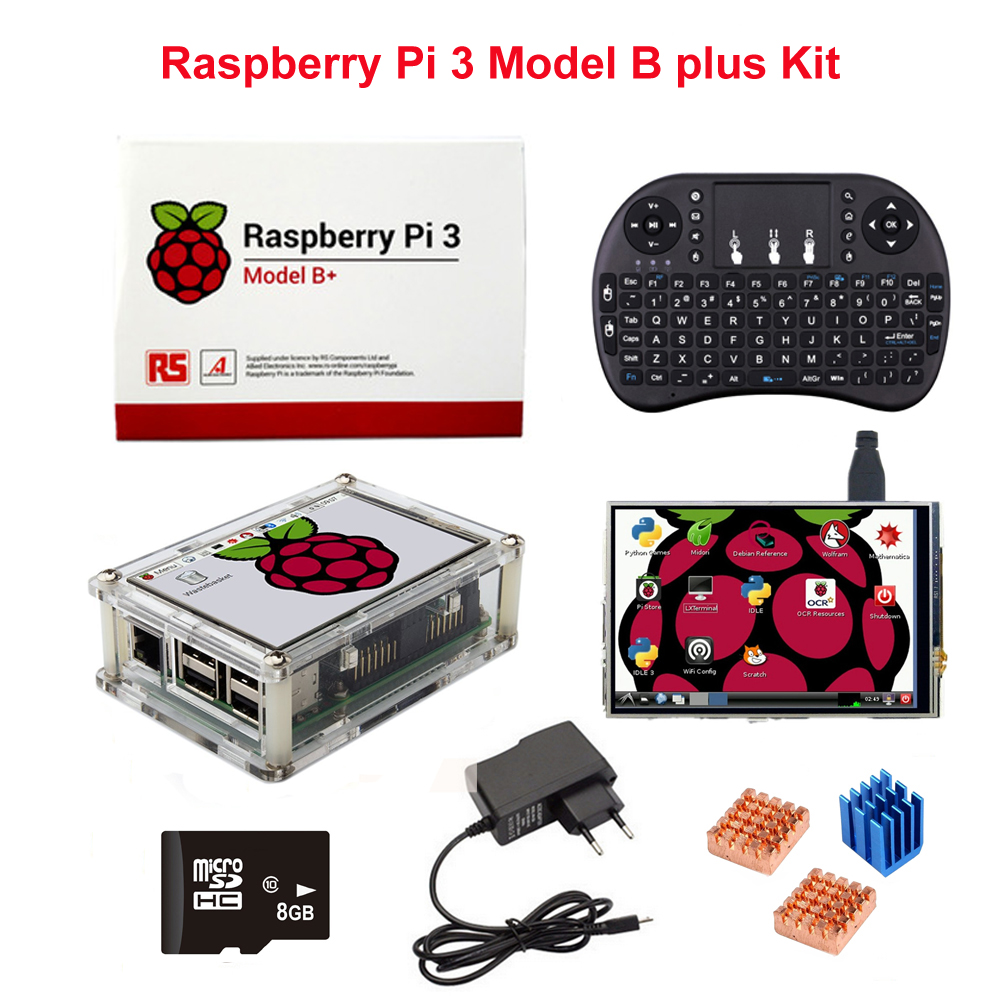 Raspberry Pi 3 und Pi 3 Modell B Plus + 3,5 zoll LCD Touch Screen + 8g SD Karte + Wireless Remote Tastatur + Fall + Kühlkörper + Power Adapter