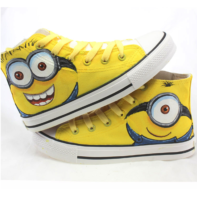 2016 New Cartoon Anime Women Casual Shoes Figure Despicable Me 2 Minion Shoes Couples Hand Painted Canvas Shoes 2016 special offer toys minion minions anime hand wholesale evangelion series doll pop new seven seas after 2 duolafaerjialaoluo