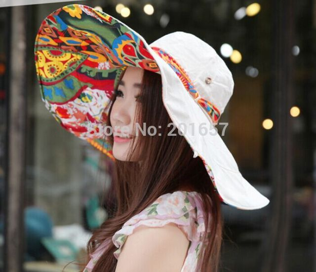 2017 Wholesale and Retail Fashion Women Wide Large Brim floral fabricbow two-side hat Summer Beach Sun Hat Cap  Free Shipping
