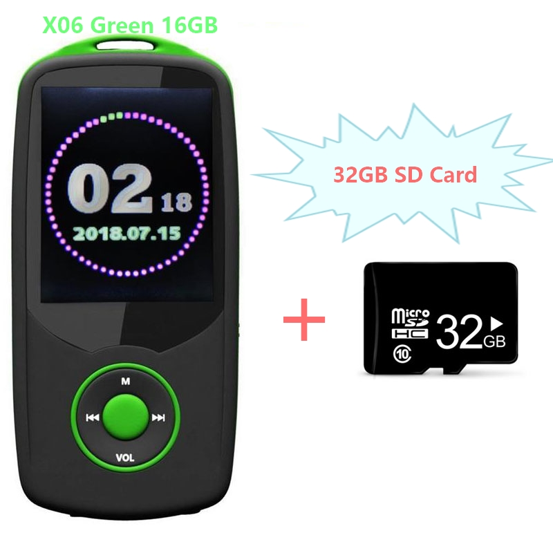High Quality RUIZU X06 Bluetooth4.0 MP3 Player 16GB Sports MP3 Music Player 1.8 Inch Color Menu Screen with FM + 32GB SD Card mymei ortable shiny mini usb clip lcd screen mp3 media player support 16gb micro sd card sports metal mp3 music player mp3 wma