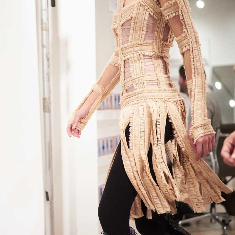 INDRESSME Новинка 2017 года Для женщин сексуальное открытое кружевное платье с кисточками, с круглым вырезом, Бандажное платье Дамское длинный рукав