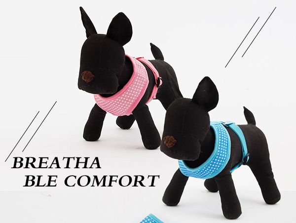 Pet Product Fashion Polka Dot Design Dog Harness Puppy Comfortable Harness Blue / Pink Color S M Size Free Shipping 2017 New