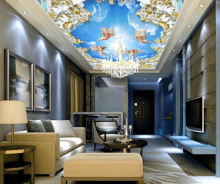 custom 3d ceiling photo Angel down to earth 3d stereoscopic sky ceiling 3d wallpaper living room wallpaper on the ceiling custom photo wallpaper 3d stereoscopic sky ceiling cloud wallpapers for living room mural 3d wallpaper ceiling